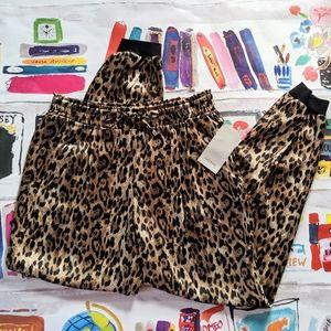 NEW Zara Leopard Print Silky Satin Joggers Pants M